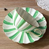 Haoshangzh25 Set da caffè e piattino in Ceramica a Strisce Set da caffè per Ufficio in casa e Sala da tè in Hotel con Tazza in Ceramica, Tazza da tè da 200 ml,Verde