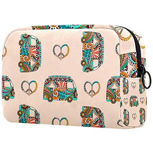 Bolsa de viaje para cosméticos, bolsa de aseo de 18,5 x 7,5 x 13 cm, bolsa de aseo para autobús hippie, bolsa de maquillaje, bolsa de maquillaje, bolsa de cosméticos de viaje, bolsa de cepillo