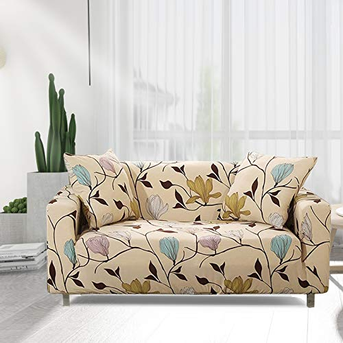HOTNIU Stretch Sofa Cover Printed Couch Covers Sofa Slipcovers for 3 Cushion Couches Elastic Universal Furniture Protector with 1 Free Pillowcase (Large, Beige Leaves)