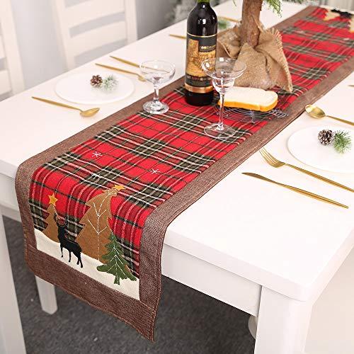 Dricar Chemin de table Noël, 180cm Nappe Noël à Carreaux Buffalo Double Couche Elan et Arbre de Noël Table Runner pour la Décoration de Noël à la Maison (Plaid)