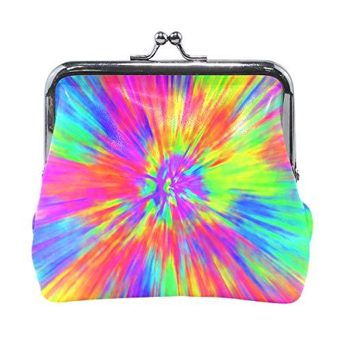 がま口 小銭入れ 財布 カラフル Tie Dye 虹色 コインケース レザー製 丸形 軽量 人気 おしゃれ プレゼント ギフト 雑貨