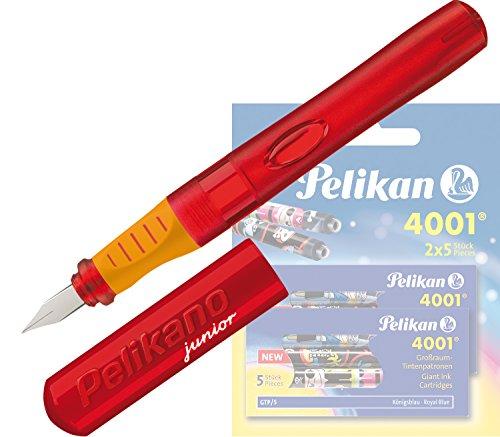 Pelikan - Pelikano Junior Füllhalter P67, Feder: A, Schaftfarbe: [ rot ] + 10 Großraum-Tintenpatronen GTP