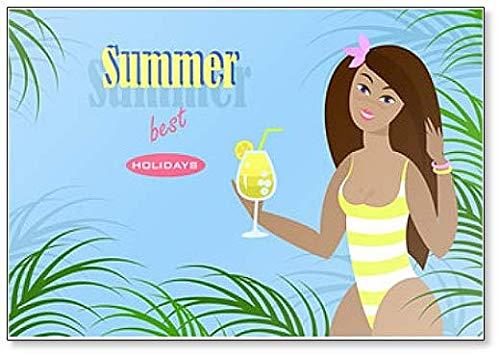 Inscriptie Zomer Beste Vakantie. Mooie Meisje in Bikini met Cocktail Drink Koelkast Magneet
