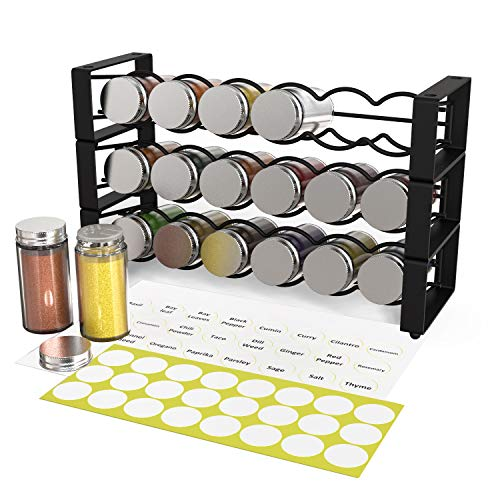 Xcosrack 3 Tier Stackable Spice Holder Storage Rack with 18 Glass Empty Jars amp 48 Labels Stackable or 3 Rack Independent Use Freestanding Black Frosted Iron Seasoning Condiment Display Shelf