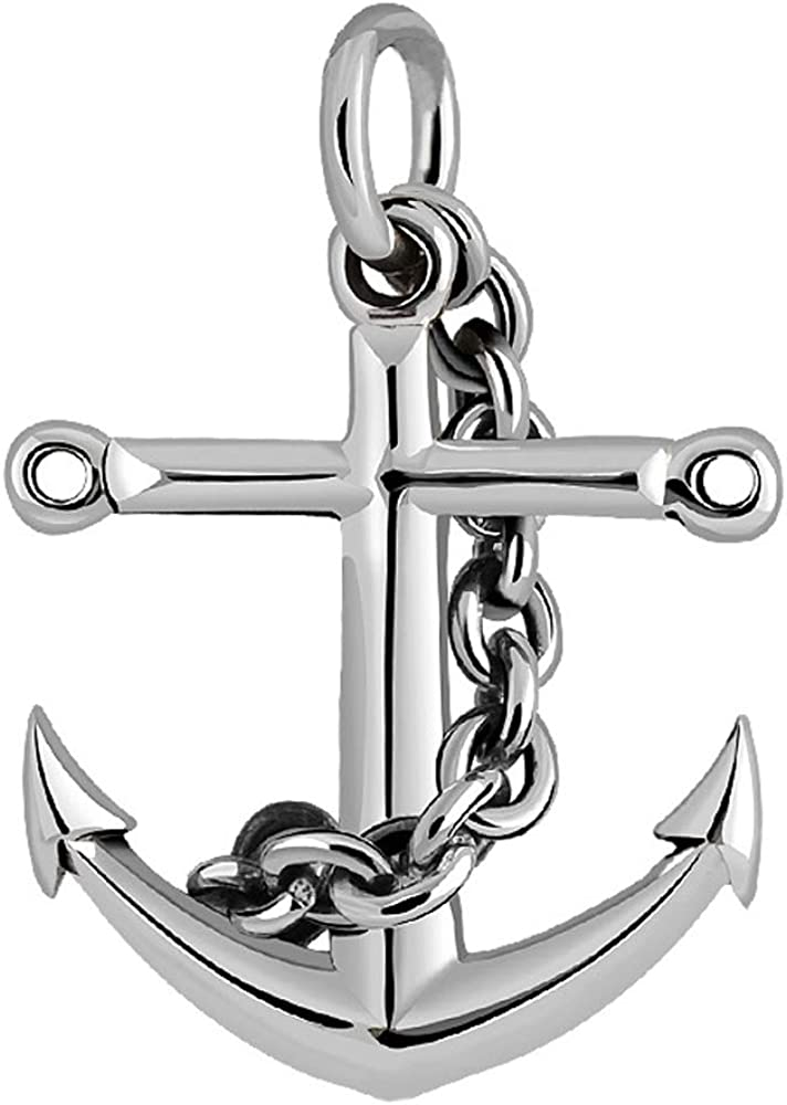 Vintage 70% OFF Outlet Solid 925 Max 81% OFF Sterling Silver Nautical Cross Anchor Pendant