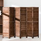 6 Panel Wood Room Divider 5.75 Ft Tall Privacy Wall Divider Folding Wood Screen 68.9' x 15.75' Each Panel for Home Office Bedroom Restaurant (Brown)