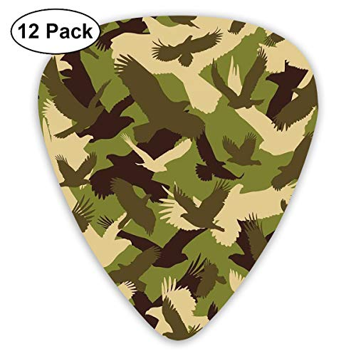 Guitar Picks12pcs Plectrum (0.46mm-0.96mm), Eagle Silhouettes Flying Open Wings Falcon Hawk Armed Forces Theme,For Your Guitar or Ukulele