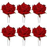 6 Pinzas para el Cabello con Rosas, Tocado de Novia, Broche de Flores para Bodas, Accesorios para el Cabello de Fiesta para Mujeres y Niñas, Hebillas para el Cabello Rojas, Horquilla para Flores