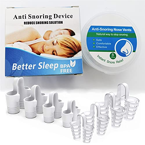 8 Pack Nose Vents Anti Snoring Devices, Ease Breathing - Simple Snoring Solution- Different Sizes Breathing Relief Nasal Dilator with Travel Case