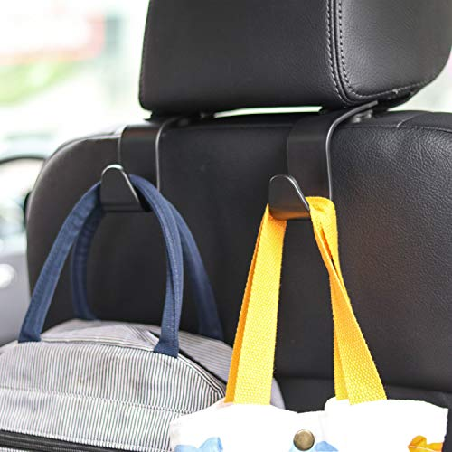 Car Seat Headrest Hook 4 Pack Hanger Storage Organizer Uiversal for Handbag Purse Coat fit Universal Vehicle Car Black S Type