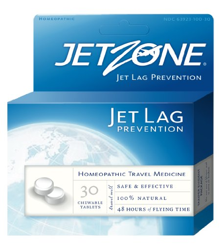 JetZone Jet Lag Prevention - Natural Homeopathic OTC Travel and Jet Lag Remedy - 30 Chewable Tablets - Jet Lag Remedy - 48 Hours Flying Time - Pleasant Taste - All Natural - Effective - Easy To Use