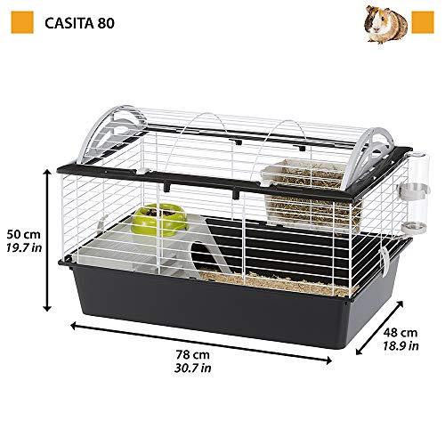 Ferplast Jaula para Conejos CASITA 80 Conejillos de Indias Pequeños Animales, Techo Redondeado Abrible, con Accesorios