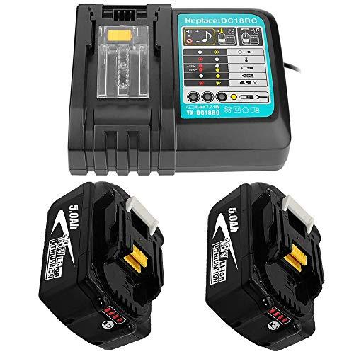 Ersatz Ladegerät mit BL1850 2 Akku 18V 5.0Ah für Makita Baustellenradio DMR 108 DMR110 DMR107 DMR 112 DMR104 DMR106 18 Volt Radio Batterie