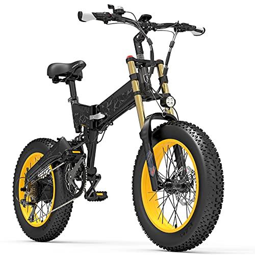 PHASFBJ Bicicleta eléctrica 500W 48V Playa Arena Bicicleta eléctrica,Bicicleta Fat Tire 20 Pulgadas,7 velocidades Palanca de Cambios,Bicicleta eléctrica de montaña para Adultos,Amarillo