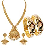 YouBella Jewellery Sets for Women Gold Plated Necklace Jewellery Set with Earrings and Bangles Combo for Girls/Women