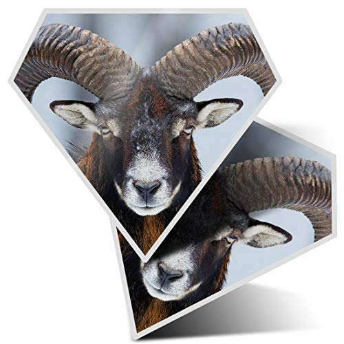 Awesome 2 x Diamond Stickers 7.5 cm - Mouflon Ovis Orientalis Horned Goat Fun Decals for Laptops,Tablets,Luggage,Scrap Booking,Fridges,Cool Gift #16860