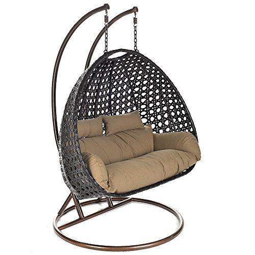 Home Deluxe Podwójny Wiszący Fotel z Polirattanu, w Zestawie Stelaż, Poduszki do Siedzenia i Oparcia, Brązowy
