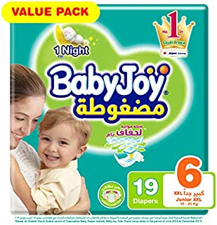 Babyjoy Compressed Diamond pad Diaper, Value Pack Junior XXL Size 6, Count 19, 16+ KG