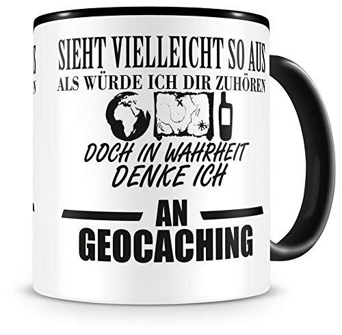 Samunshi® Ich denke an Geocaching Tasse Kaffeetasse Teetasse Kaffeepott Kaffeebecher Becher H:95mm/D:82mm schwarz