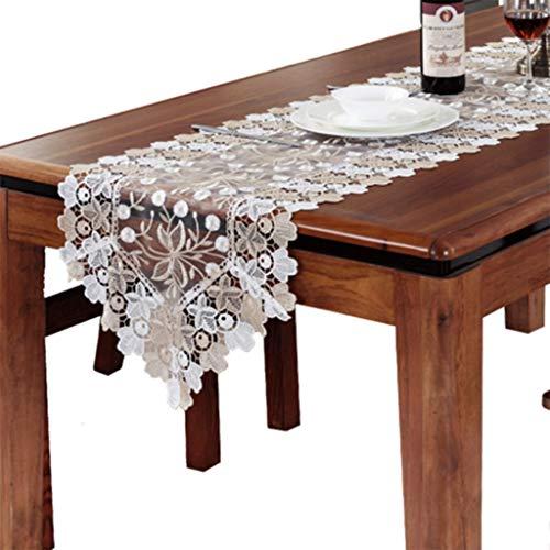 Tafelloper Luxe Europese Gouden dubbele kleur Borduren Lace Overlay geborduurd met Wedding Party tafellopers Tafelkleed-4.13 (Size : 40 * 220cm)