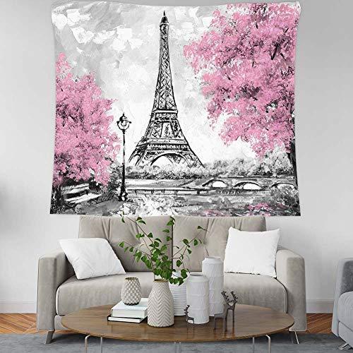 Wandteppiche Tapisserie Wandbehang, Natürliche Landschaft Gemälde Tapeten An Der Wand Hängenden Blüten Rosa Paris Eiffel Tower, Große Rechteckige Stoff Kunst Dekor Für Wohnzimmer Schlafzimmer, 1