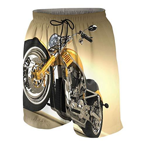 SUHOM De Los Hombres Casual Pantalones Cortos,Hierro Custom Estética Hobby Moto Espejos Modernos futuristas Montar Tema,Secado Rápido Traje de Baño Playa Ropa de Deporte con Forro de Malla