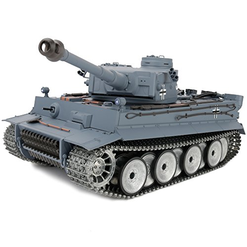 1/16 2.4ghz Remote Control German Tiger I Gray Color Tank Adults Model Toy(Upgraded/Metal Road Wheel & Tracks & Sprocket Wheel & Idle Wheel)(Steel Gear Gearbox)(5000mah Nimh Battery)(Airsoft)
