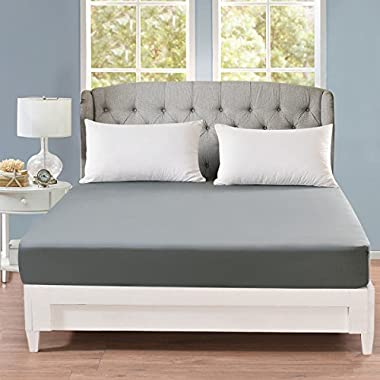 Fitted Sheet Queen - Fitted Sheet Only 100% Brushed Microfiber, Wrinkle, Fade and Stain Resistant, Soft and Breathable Sheet with Deep Pocket (Queen, Gray)