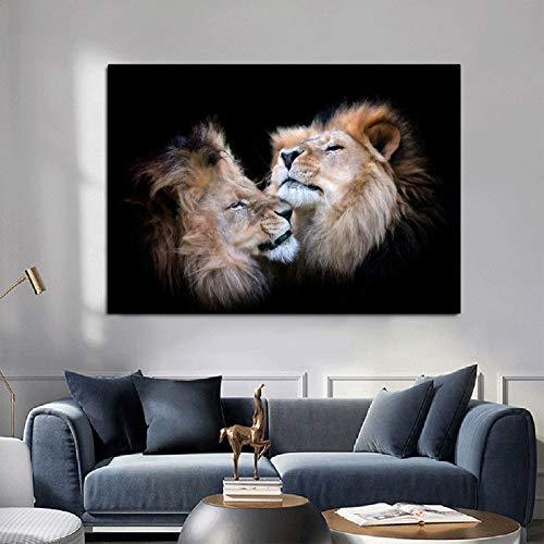 N/A Poster Leinwand Malerei moderne Tier Schwarz und Weiß Küssen Löwen Kopf Wandkunst Bilder für Wohnzimmer Home Decor (Druck ohne Rahmen) C 50x100CM