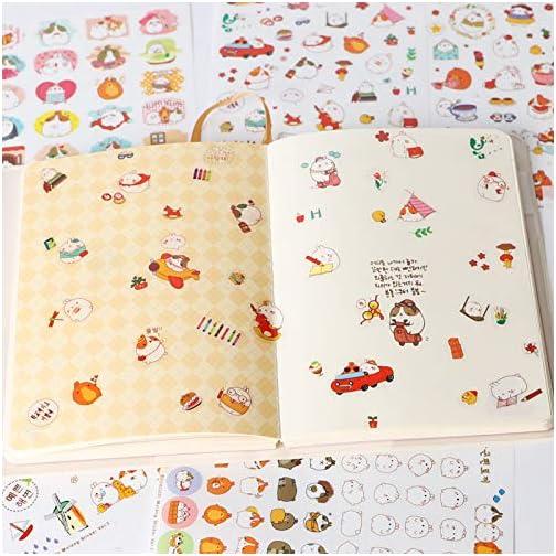 "Inovat Cute ""Molang Rabbit"" Bunny Rabbit Charactor Sticker Diary Scrap Book Scrapbooking Decor Decoration Lot Korean Stationery, Version 1st&2nd&3rd, 18 Sheets  "
