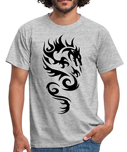 Tribal Dragon Drachen Drache Tattoo Mystisch Männer T-Shirt, 3XL, Grau meliert