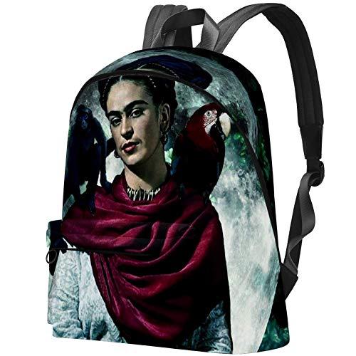 Frida Kahlo, auto-retrato con collar de espina y colibrí mochila de las mujeres casual mochila escolar mochila multiuso bolsa para la universidad de viajes trabajo Color05. 17.3x13.7x5.5 in