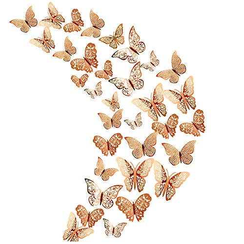 36Pcs Champagne 3D Butterfly Wall Stickers, Metallic...