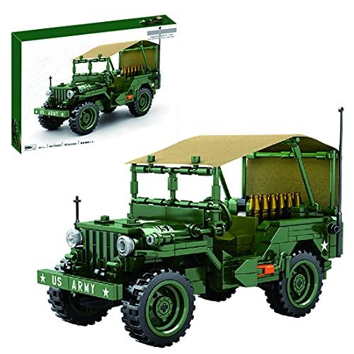 xSuper Jeep WillysMB Vehículo de transporte militar con accesorios Blaster WW2 Bloques de construcción para camiones militares, 807 piezas para niños y adultos, compatible con Lego Technics