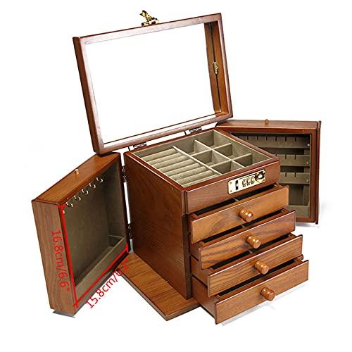 Futchoy Joyero grande de madera, 5 niveles, 27,5 x 19,1 x 22,9 cm, maletín cosmético con cerradura espejo y tallado, color madera envejecida