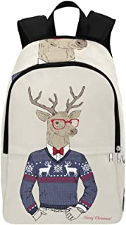 YPink Hand Drawn Vector Illustration of Deer Hipster in Casual Daypack Travel Bag College School Backpack for Mens and Women