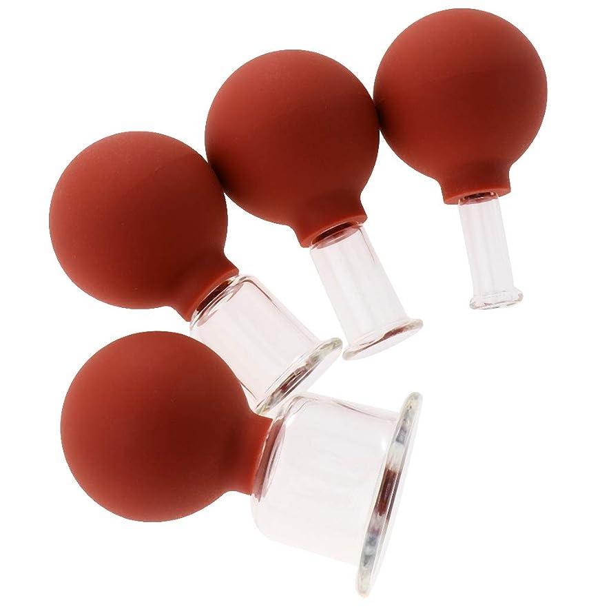 迫害日没溶接D DOLITY マッサージカップ 吸い玉 カッピングセット ガラスカッピング 真空 男女兼用 ギフト 4個 全3色 - 赤茶色