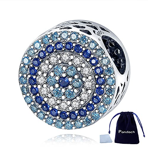 Pandach Crystal Evil Eye Bead Charm Lucky Charms fits Charms Bracelets for Woman-Inlaid with silver Dangle Pendant Bead,Girl Jewelry Beads Gifts for Women Bracelet&Necklace