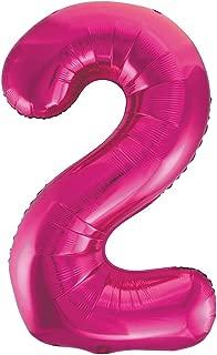 Unique Party- Globo gigante número 2, Color rosa, 86 cm (55732)