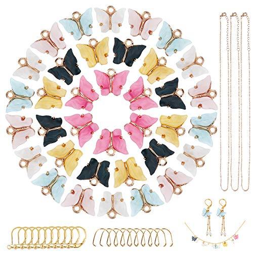 PandaHall Kit de fabricación de pendientes y collares, con 30 piezas de colgante de mariposa de acrílico, cadenas de cable de hierro, collares de latón con palanca, ganchos de acero inoxidable 304.