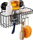 HASKO accessories Shower Caddy Suction Cup - Wall Mounted Bathroom Shelf with Hooks - Suction Shower Basket - Shower...