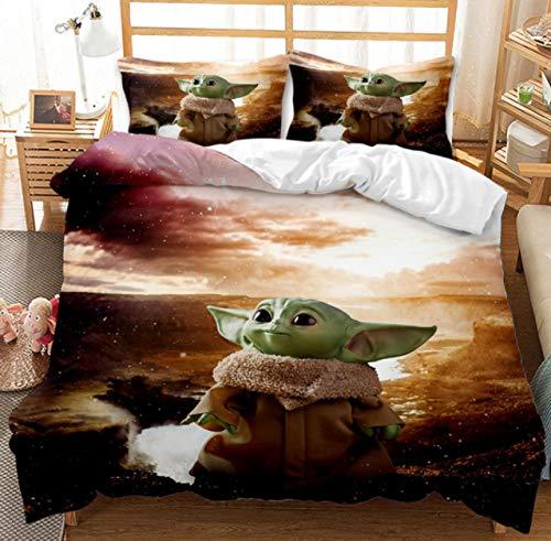 Vscdye Star Wars Baby Yoda Set di Biancheria da Letto 3D Tessili per La Casa Set di Biancheria da Letto Matrimoniale Singola con Letto Matrimoniale Copripiumino Federe240X260Cm