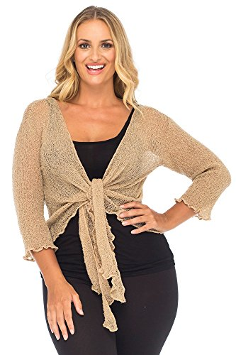 Back From Bali Womens Plus Size Shrug Bolero Sheer Cardigan Arm Cover 2X 3X 4X Lightweight Mocca