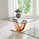 Pharao24 Design Sofatisch aus Kernbuche Massivholz Glas