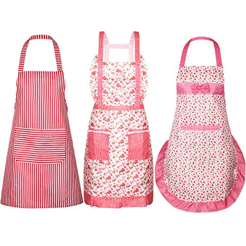 3 Pieces Women Apron with Pockets Cute Vintage Cooking Apron Kitchen Housework Aprons for Christmas Thanksgiving Gift (Color Set 5, Size Set 5)