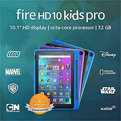 """Introducing Fire HD 10 Kids Pro tablet, 10.1"""", 1080p Full HD, ages 6–12, 32 GB, Sky Blue"""