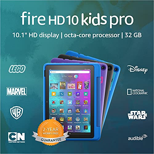 Introducing Fire HD 10 Kids Pro tablet, 10.1', 1080p Full HD, ages 6–12, 32 GB, Sky Blue