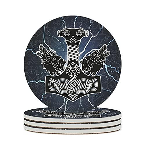 Fineiwillgo Posavasos de cerámica vikingo, martillo de Thor, lobo, redondo, protector de cerámica con base de corcho impreso, para jarrones, diámetro de 9,8 cm, color blanco, 4 unidades