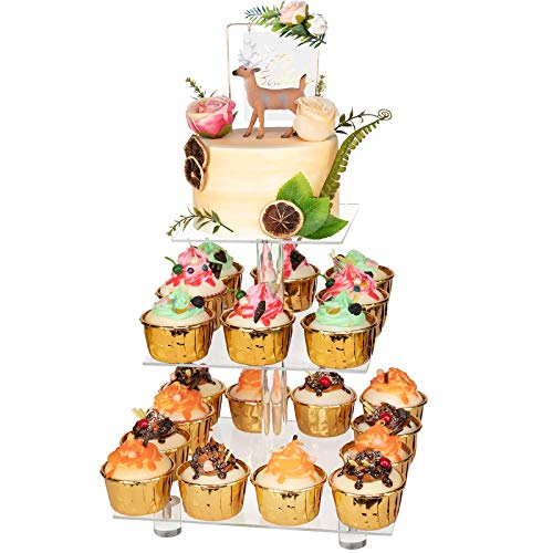 YestBuy 3 Tier Cupcake Stand with Base Cake Stand Acrylic Cupcake Tower Stand Premium Cupcake Holder for 28 Cupcakes Display for Pastry Wedding Birthday Party 4quot Between 2 Layers