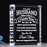YWHL To My Husband Gifts for Him, I Love You Gifts for Husband, Laser Engraving Crystal Present for Husband Birthday Anniversary Valentine's Day